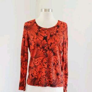 Talbots XL orange black bold floral sweater